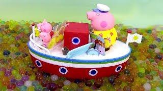 getlinkyoutube.com-Bateau de vacances de Papy Pig Jouets de Peppa Pig ♥ Grandpa Pig's Holiday Boat