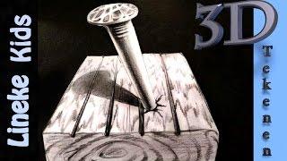 getlinkyoutube.com-Hoe teken je een 3D Spijker in je tafel! / 3D tekenen # 41