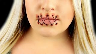 getlinkyoutube.com-Stitched Mouth SFX Makeup Tutorial
