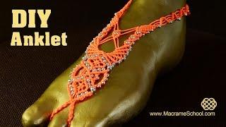 getlinkyoutube.com-Macramé Barefoot Sandal Anklet with Beads [DIY] Tutorial