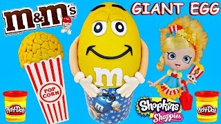 getlinkyoutube.com-M&M's GIANT Play Doh Surprise Eggs + Shopkins Shoppies Doll | Surprise Egg & Toy Opening