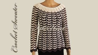 getlinkyoutube.com-Wavy striped sweater – crochet pullover with sleeves