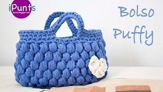 getlinkyoutube.com-Aprende punto Puff a crochet y hazte este Bolso Puffy (trapillo)