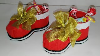 getlinkyoutube.com-como hacer un dulcero de bota de navidad adornos navideños manualidades tutorial DIY