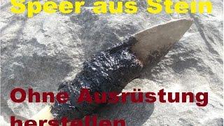 getlinkyoutube.com-Stein-Speer ohne Hilfsmittel herstellen Wildschweinjagd survival kurse