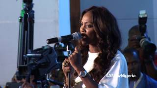 Tiwa Savage singing the Nigerian National anthem at the APC summit