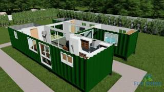 SCH15 2 x 40ft Container Home with Breezeway 3D render video