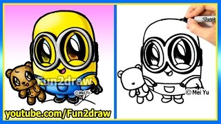 getlinkyoutube.com-How to Draw a Minion - Bob and Teddy Bear - The Minions Movie - learn to draw easy cartoons Fun2draw
