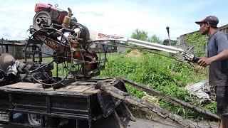 getlinkyoutube.com-Quick G3000 Zeva Kubota RD85 Loading Onto MotorCylce