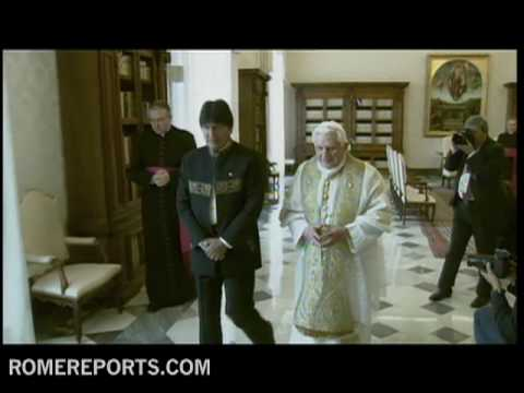 Bolivian president  Evo Morales meets Pope Benedict XVI