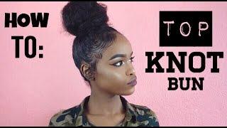 getlinkyoutube.com-NATURAL HAIR | TOP KNOT BUN FOR SHORT HAIR