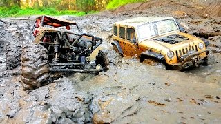 getlinkyoutube.com-RC Extreme Pictures — RC Cars OFF Road 4x4 Adventure — Mudding 4x4 Trucks Jeep VS Axial Wraith
