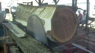 "getlinkyoutube.com-Steam Powered 1800s Circular Sawmill Sawing Huge 36"" Walnut log into 20 inch wide 5/4 boards"