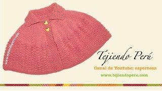 getlinkyoutube.com-Cómo tejer una capa con cuello en dos agujas o palitos para niñas