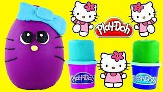 getlinkyoutube.com-BIG Play Doh Surprise Eggs Hello Kitty Fashems Shopkins Looking HelloKitty Playdough Egg by DCTC