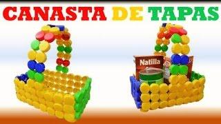getlinkyoutube.com-MANUALIDADES / Como Hacer una Canasta con tapas de botellas recicladas / RECICLAJE