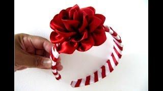 getlinkyoutube.com-Rosas rojas diadema trenzada en cintas para el cabello