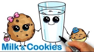 getlinkyoutube.com-How to Draw Cartoon Milk and Chocolate Chip Cookies Cute and easy