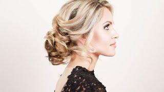 getlinkyoutube.com-Прическа на новый год. Пучок из локонов. Hairstyle for the New Year. A Bundle of Curls