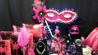 getlinkyoutube.com-$1195 Quinceanera Centerpiece - Mask or Masquerade Theme in Fuchsia and Black by www.abcfashion.net