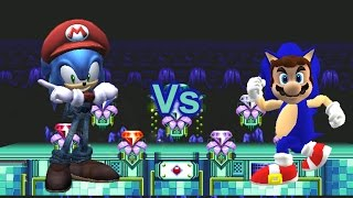 getlinkyoutube.com-SSBB Wii U Modded Battles: Costume Fight! Mario Vs Sonic