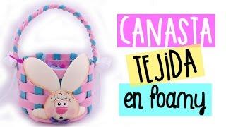 Canasta tejida en foamy Souvenir para pascua baby shower Cumpleaños Manualidades en foamy goma eva