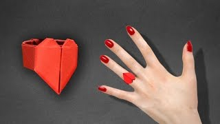 How to make an origami Heart Ring. - Instructions in English ( BR )