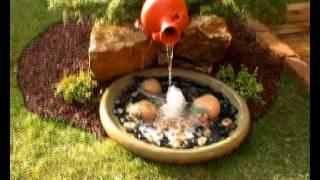 getlinkyoutube.com-Jardín de césped natural y fuente con plato surtidor. Viveros Chaves 2011.