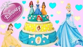 getlinkyoutube.com-Disney Princesses Play Doh Surprise Cake! Cinderella! Belle! Ariel! Blind Bags! Figural Keyrings!