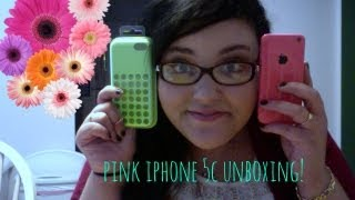♡Pink iPhone 5C unboxing♡ (& Green iphone 5c Case!)