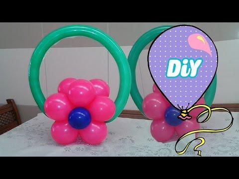 Como Fazer um Arranjo de Mesa Flor de Balão- Tutorial centro de mesa de bexiga Flor dupla pequena
