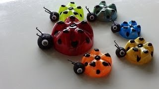 getlinkyoutube.com-Recycled Art Ideas for Kids: Ladybug's Family from Plastic Bottles