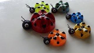 getlinkyoutube.com-Recycled Art Ideas for Kids: Ladybug's Family from Plastic Bottles