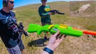 getlinkyoutube.com-Air Warriors Predator vs. Firearms! [Blaster Destruction]