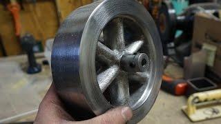 getlinkyoutube.com-Casting an Aluminium Flywheel Using Lost Foam Method and CNC Routed Foam