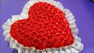 Heart shaped pillow (smocking technique)
