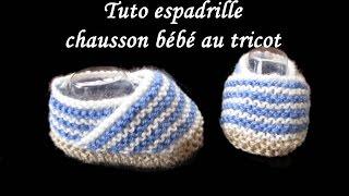 getlinkyoutube.com-TUTO ESPADRILLE CHAUSSON BEBE AU TRICOT baby bootie espadrille knitting tutorial