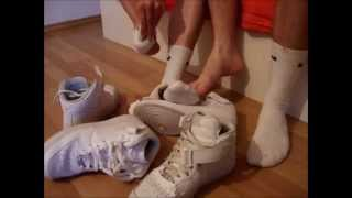 getlinkyoutube.com-Teen boy sneaker socks play with a friend and our dirty Nike AirForce