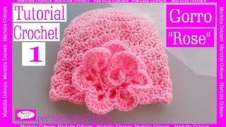 "getlinkyoutube.com-Gorro Bebé ""Rose"" Crochet (1)  por Maricita Colours Tutorial Gratis Ganchillo"