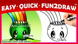 getlinkyoutube.com-CUTE Rainbow Pot of Gold St Patricks Day - How to Draw Step by Step - Easy Quick Fun2draw