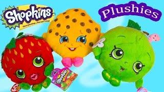 getlinkyoutube.com-Shopkins Season 1 Plushies Kooky Cookie Strawberry Kiss Apple Blossom 3 Plushy Toy Unboxing Review