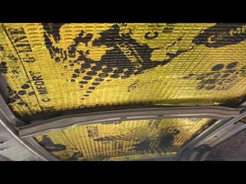 Шумка потолка (крыши) Subaru Forester, в два слоя вибро и шумо изоляцией, толщиной 13 мм