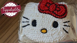 getlinkyoutube.com-How To make a Hello Kitty cake with icing decoration (cream)