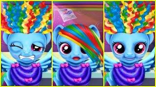 getlinkyoutube.com-MLP My Little Pony Rainbow Dash Twilight Sparkle & Applejack Funny REAL HAIRCUTS Compilation Game
