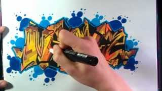 getlinkyoutube.com-How to Draw Graffiti Brown and Blue on Paper