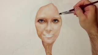 getlinkyoutube.com-Drawing Time Lapse - Watercolor Portrait of Girl - Портрет Девушки Акварель