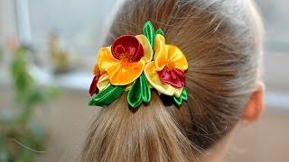 МК Канзаши   Резинка для волос  Анютины глазки /DIY Kanzashi Flowers