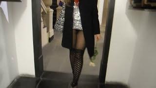 getlinkyoutube.com-Michelle Vittoria upskirt. No panties, but pantyhose. Minigonna e non porta mutande?