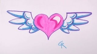 getlinkyoutube.com-How to Draw Heart with Wings for Kids - CC
