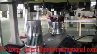 getlinkyoutube.com-Double Station Automobile Generator Stator Wave Winding And Inserting Machine--Nide Mechanical